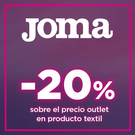 20% sobre el precio outlet en producto textil