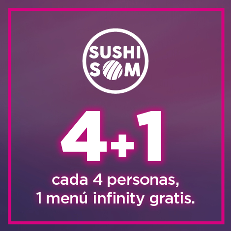 Cada 4 personas de menú infinity, 1 gratis