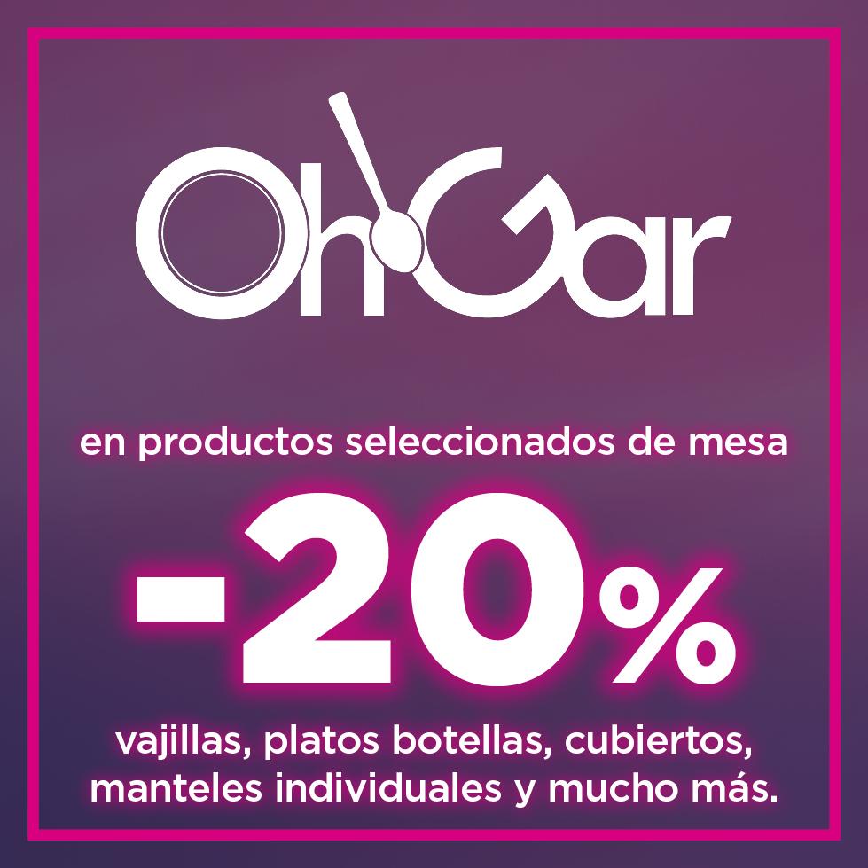 20% En productos seleccionados de mesa